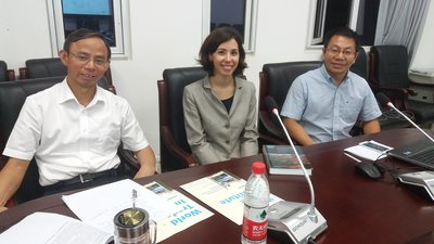 Ilaria Espa with Professor Zuo Haicong (left), Dean of the Nankai University School of Law and Professor Jianguo Hu, Associate Professor in International Economic Law (right)